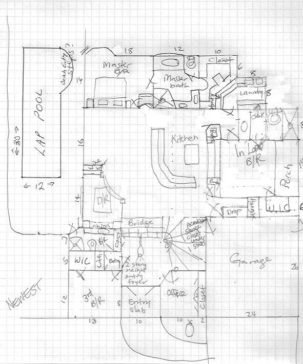 Hand drawn floor plan from customer