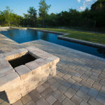Paver Fire Pit by Pool